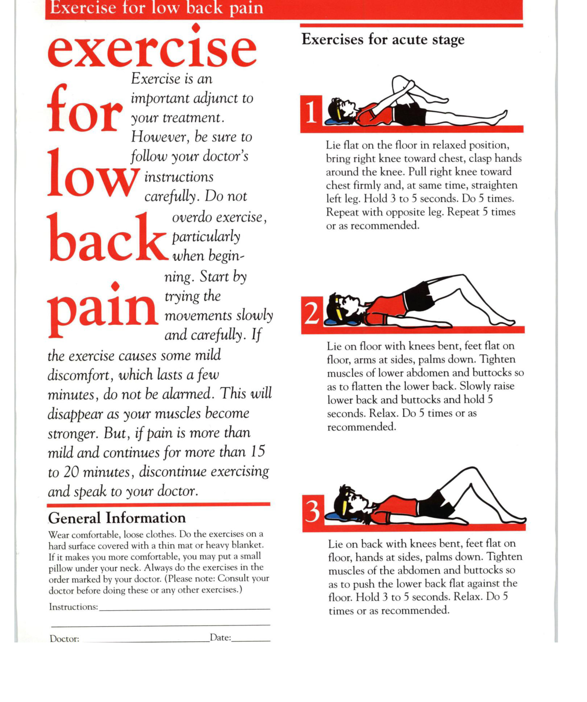 Exercise Program - Low Back Pain - Office Instructions - HEALTHCARE ...