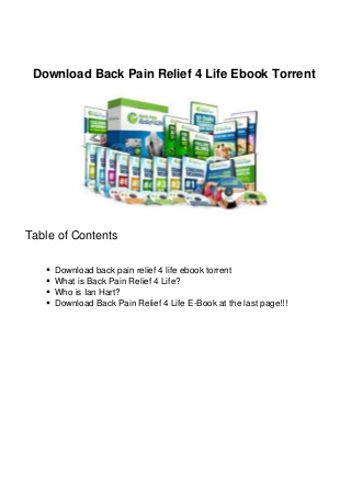 Download Back Pain Relief 4 Life Ebook Torrent
