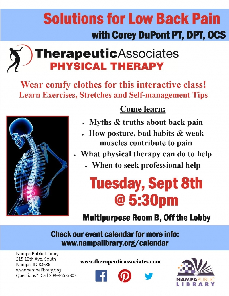 Solutins for Low Back Pain 09\/08\/2015 Nampa, , Nampa Public Library ...