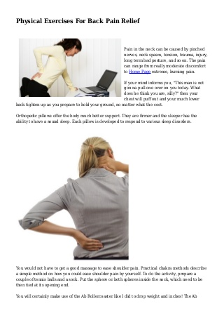 Physical Exercises For Back Pain Relief