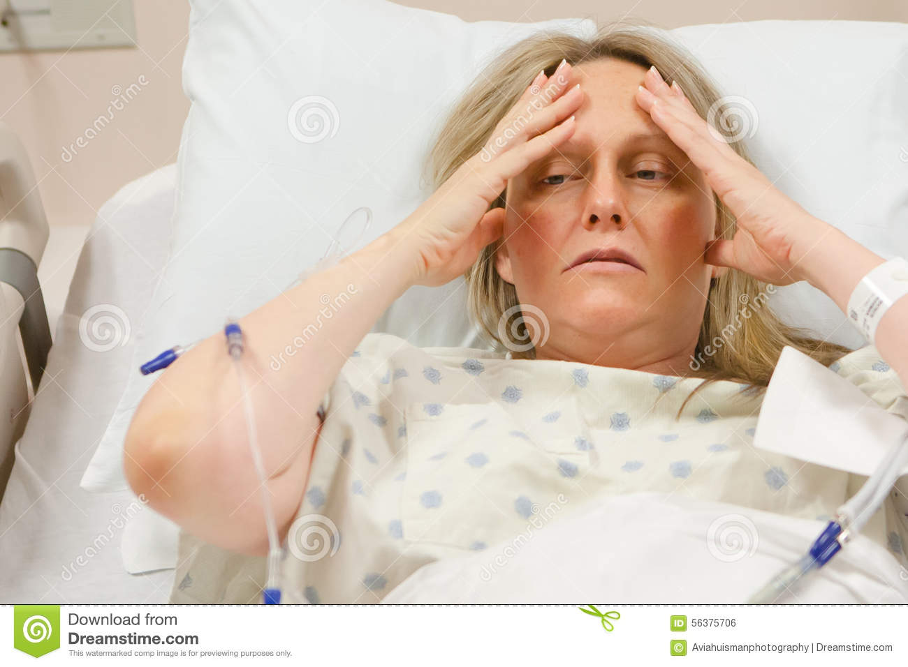 Women In Hospital Bed Sick sick woman in hospital stock photo - image ...