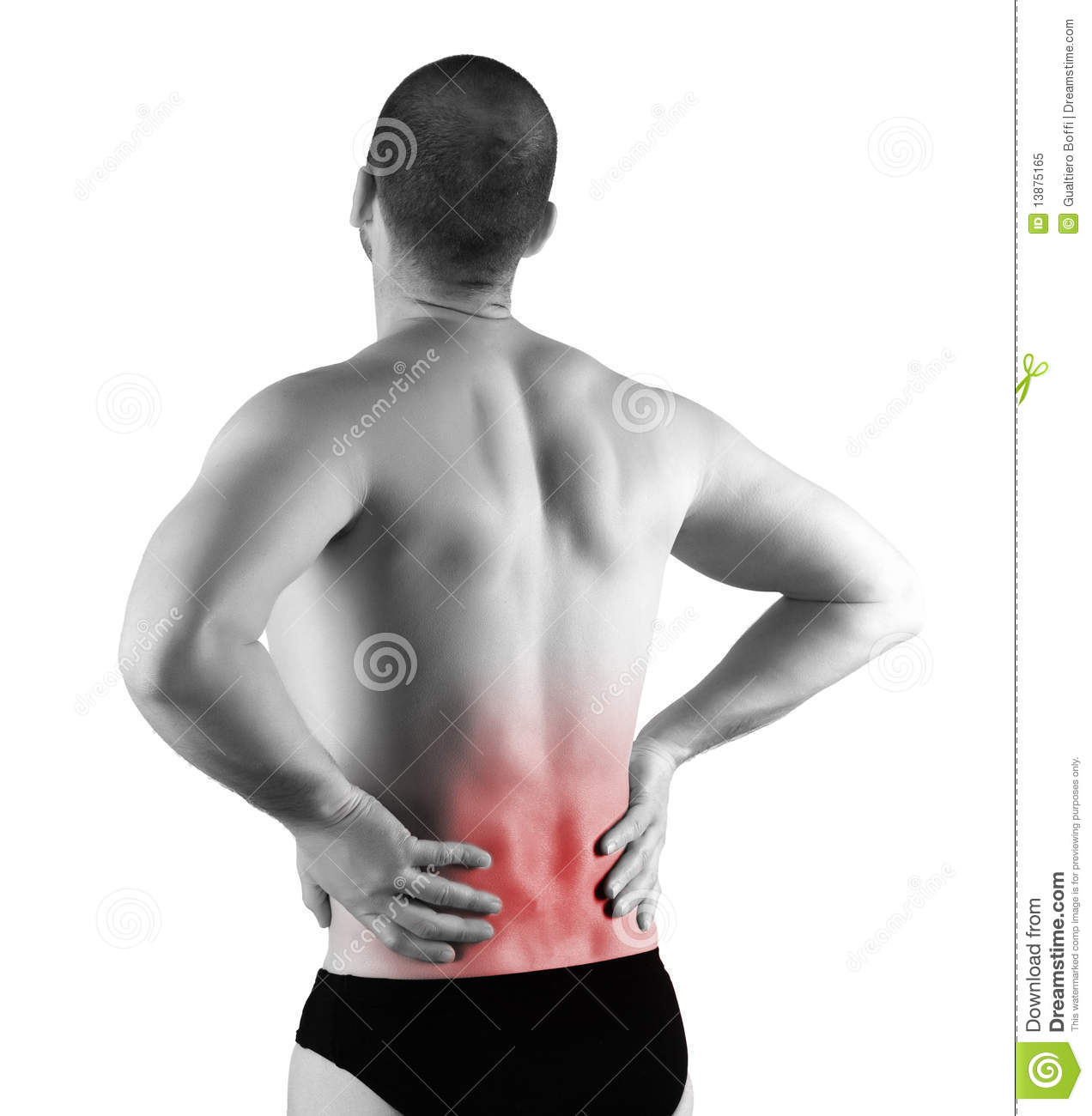 Young man with back pain in the red zone.