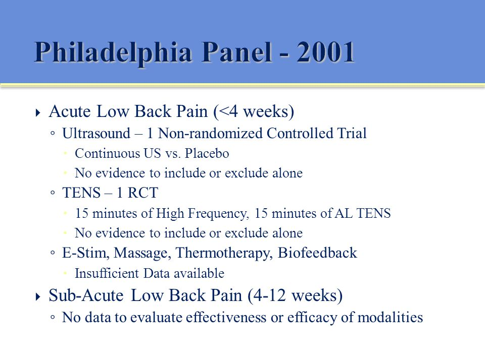 ... Back Pain (4-12 weeks) No data to evaluate effectiveness or efficacy