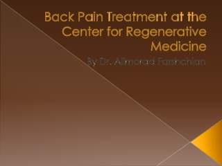 Back Pain Treatment at the Center for Regenerative Medicine