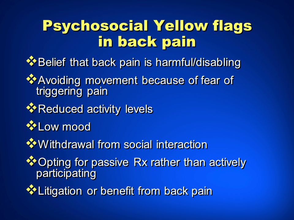 Belief that back pain is harmful\/disabling. Avoiding movement because ...