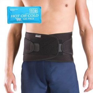 ... .com Elite Back Support With Reusable Hot Heat Ice Cold Ice Gel Pack