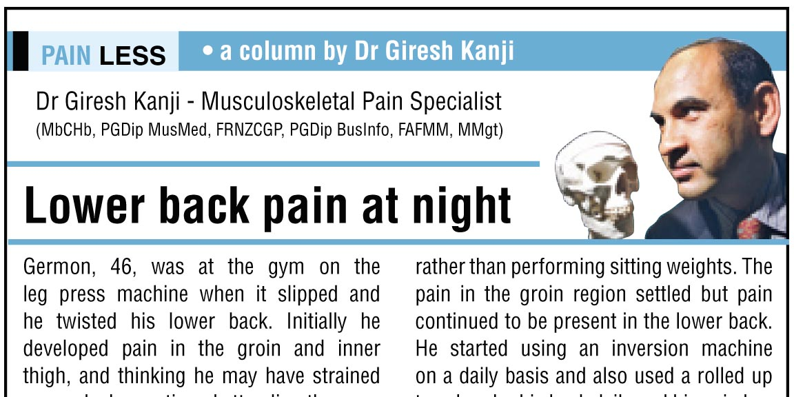 Lower back pain at night - The Sports and Pain Clinic
