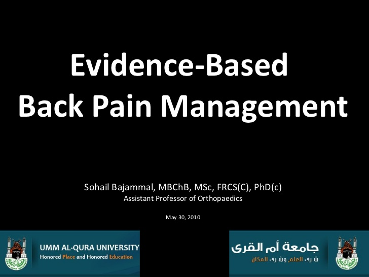 Evidence-based Back Pain Management (EBM in general)