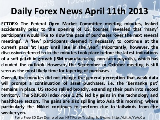 Daily Forex News April 11th 2013: Fed Minutes, Released Early by Mistake, Had a Hawkish Tone Japanese Yen Depreciation Continues