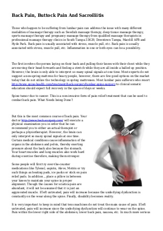 Back Pain, Buttock Pain And Sacroiliitis