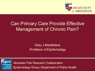 Can Primary Care Provide Effective Management of Chronic Pain?