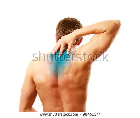 Young man with pain on upper back, isolated on white background ...