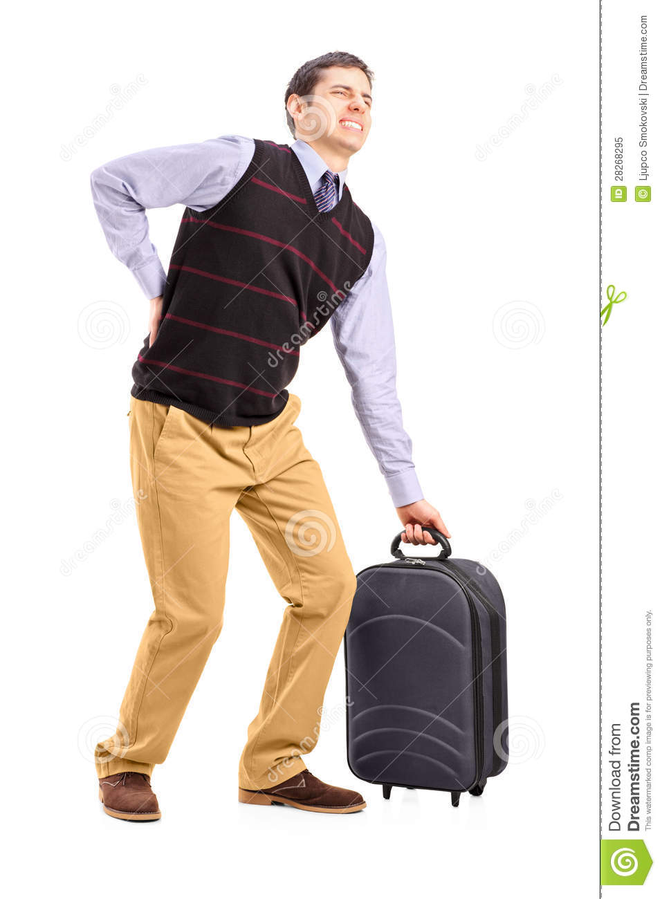 Man Lifting His Luggage And Suffering From A Back Pain Royalty Free ...