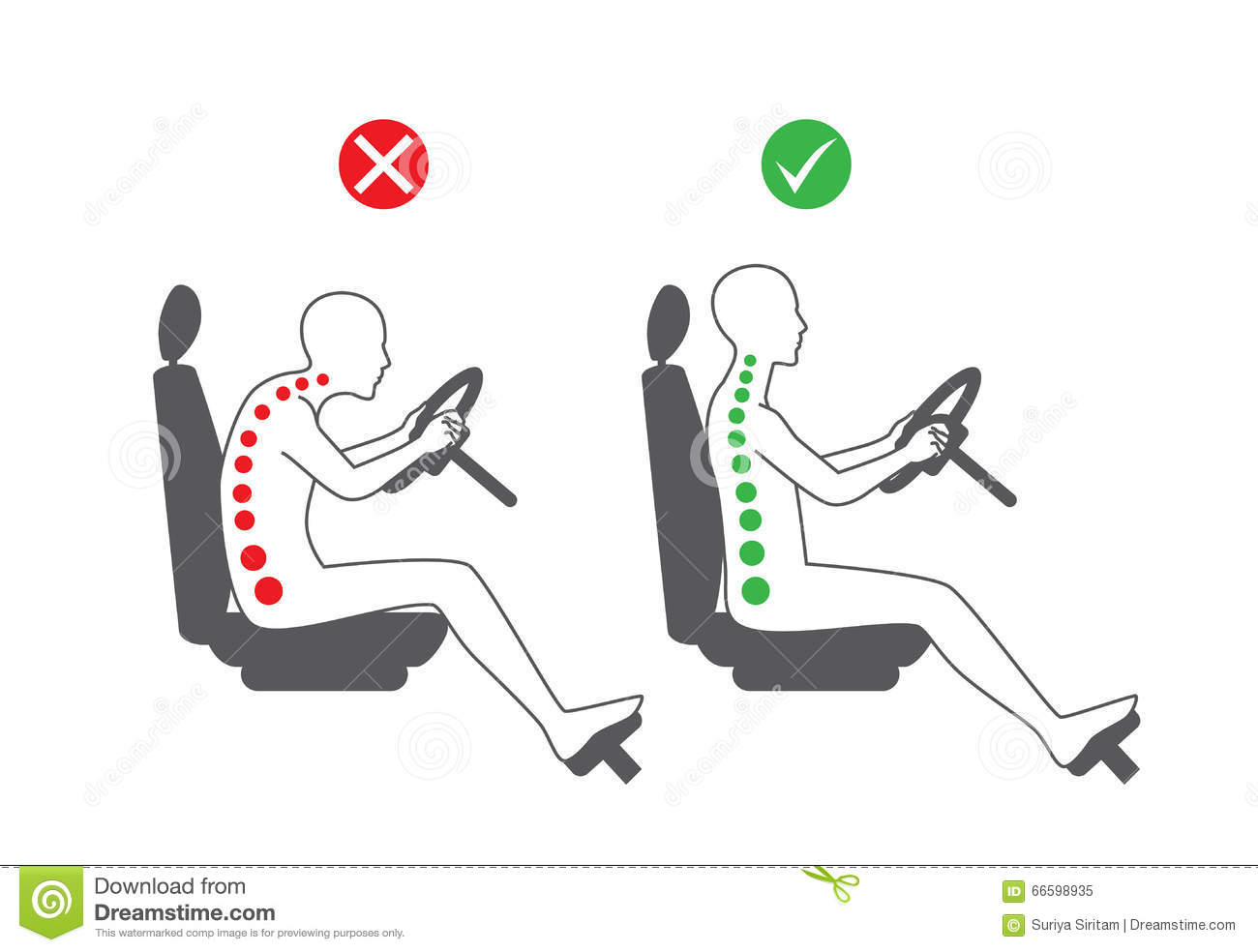 Correct Sitting Position In Driving Stock Vector - Image: 66598935