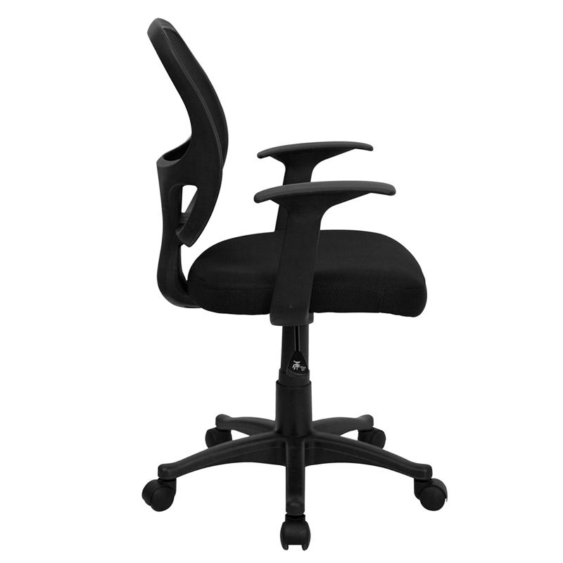 Mid-Back Black Mesh Swivel Task Chair with Arms, LF-W-118A-BK-GG by ...