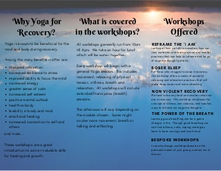 Addiction Recovery workshops offered by Esther Nagle of Balance and Breathe