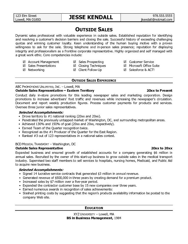 Sales Representative Resume Examples Free - Job Resume Samples