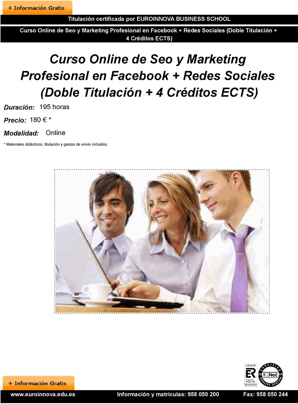 Marketing Profesional en Facebook + Redes Sociales (Doble Titulaci