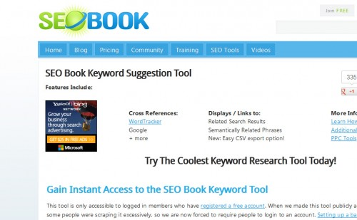 SEO Book Keyword Suggestion Tool
