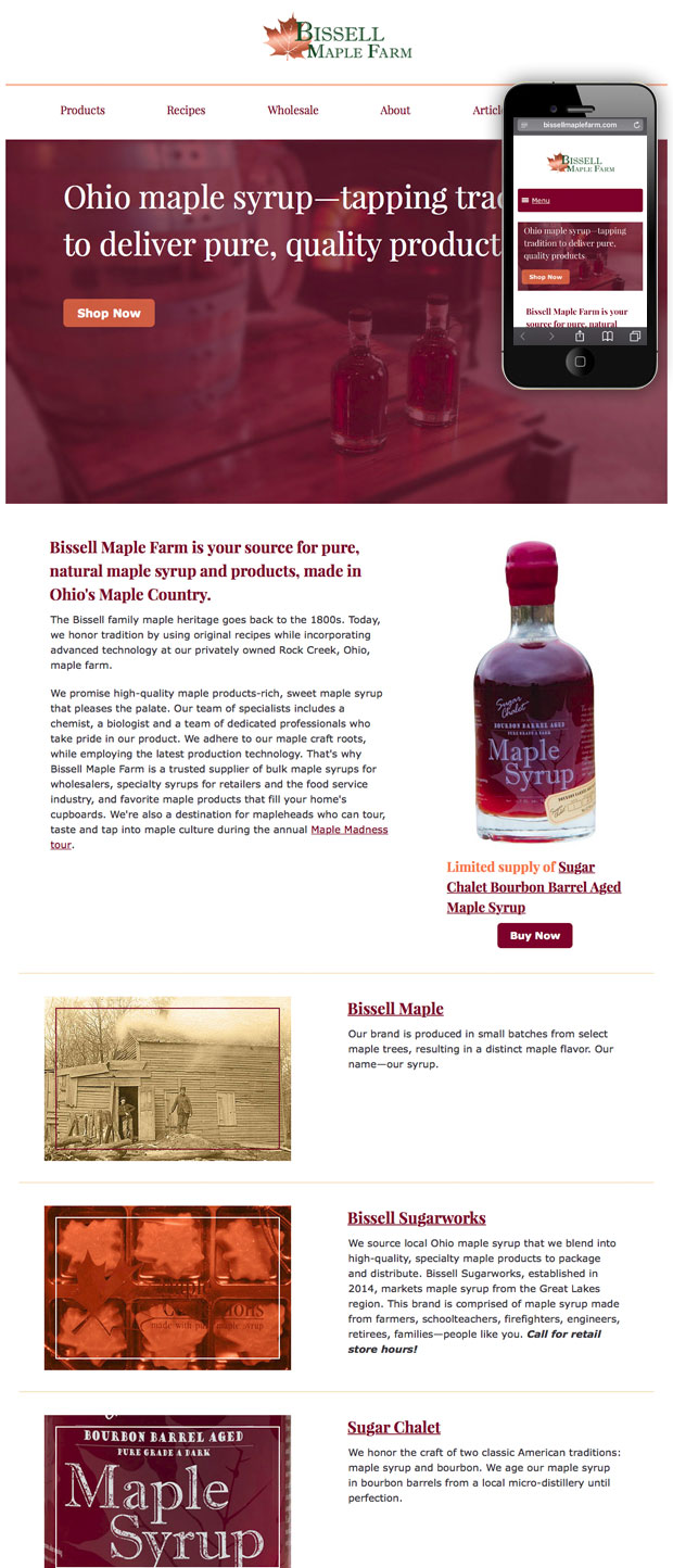 Screenshot of Bissell Maple Farm responsive web site