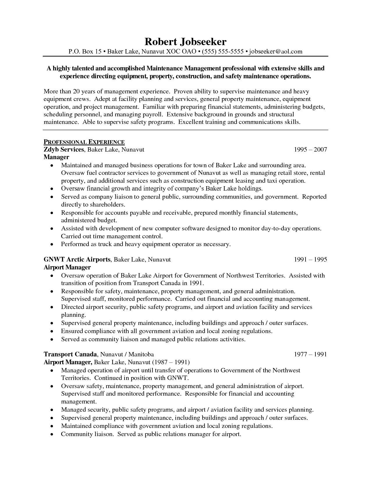 operations manager sample resume operations manager resume sample best ...