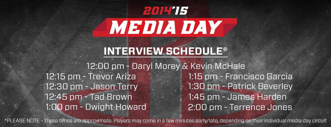 Media Day Interview Schedule