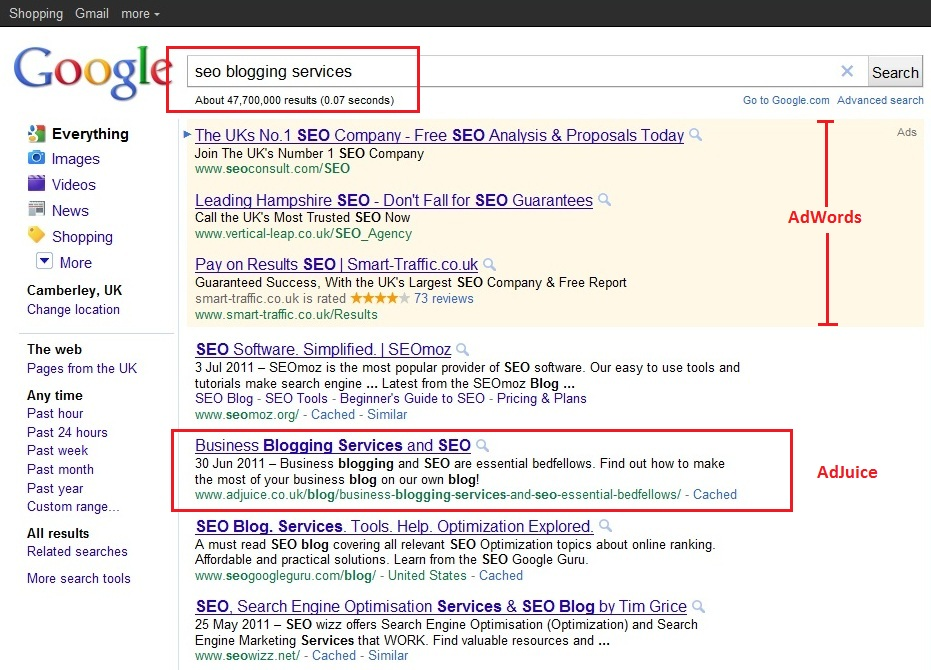 ... Blogging for SEO - Google Search Results - AdJuice SEO Services