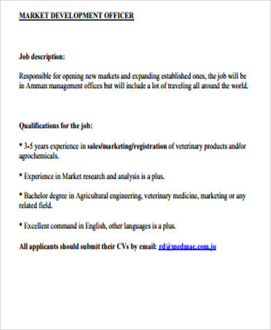 Marketing Officer Job Description Sample - 9+ Examples in Word, PDF