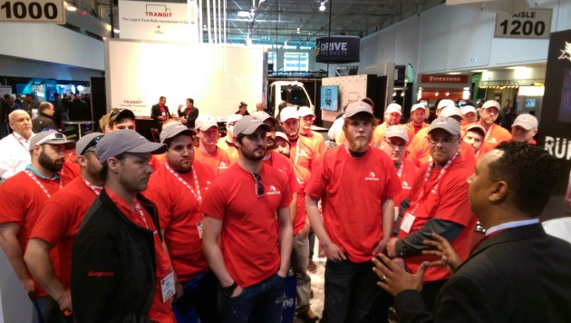 Fanshawe College students visit the Meritor booth April 14 at Truck ...