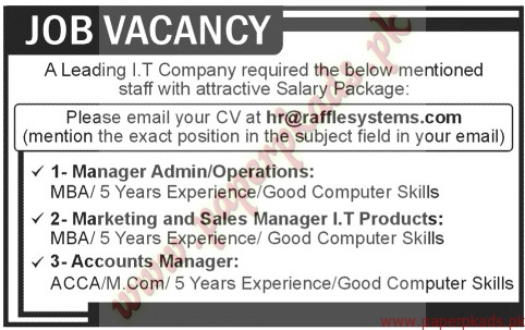 Manager Admin, Marketing and Sales Manager IT Products, Accounts ...