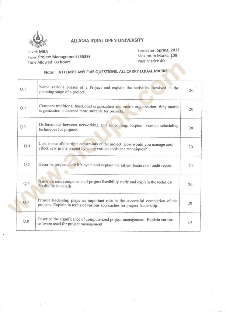 Project Management Code 5539, Level MBA, AIOU Old Paper