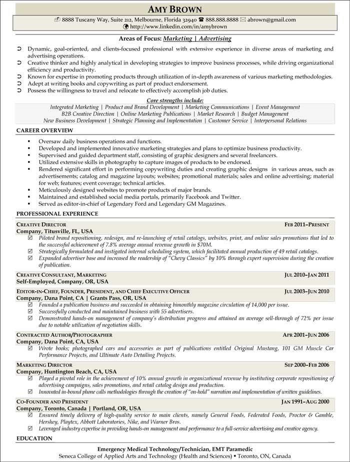 Marketing Resume Examples - Resume Professional Writers