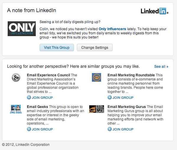 In - A change to your Only Influencers digestsA note from LinkedIn ...