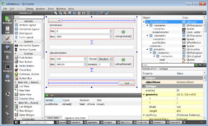 Qt Creator 3.1.1 editing a sample UI file from Qt 5.3 using Designer ...