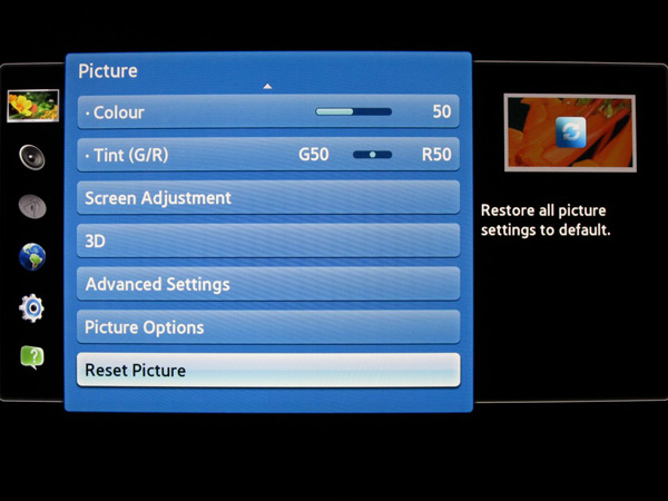 Samsung LCD 2012 TV recommended picture settings shown with menu ...