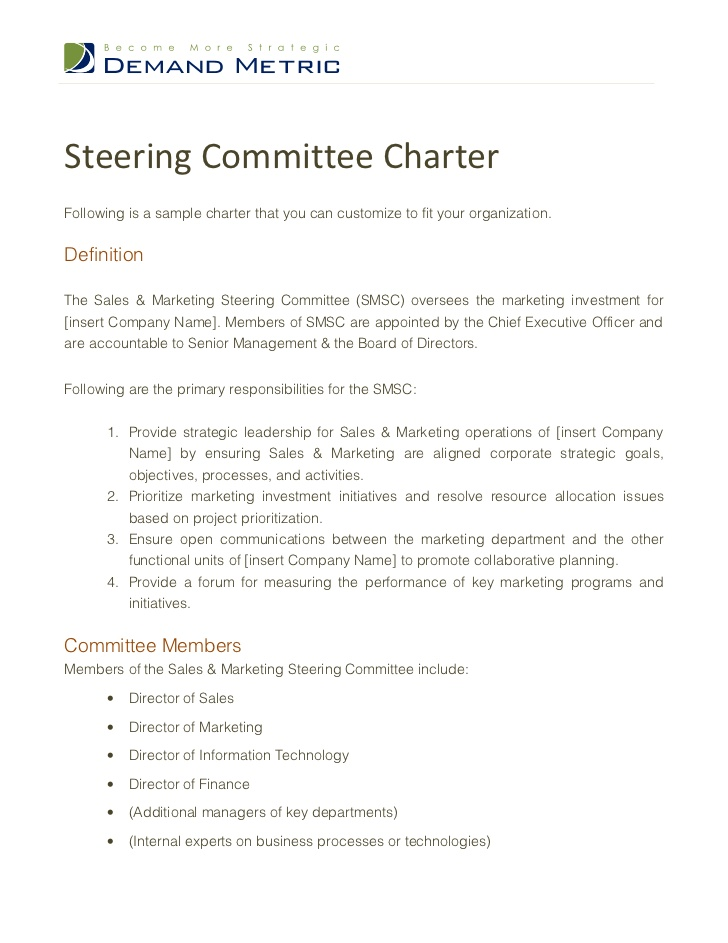 Steering Committee CharterFollowing is a sample charter that you can ...