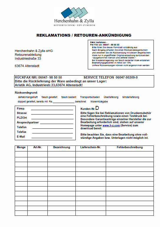 Reklamationsformular (download)