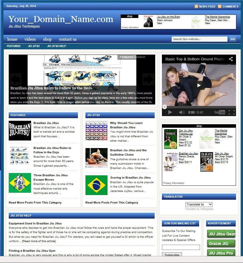 ... JITSU TRAINING* WEBSITE BUSINESS FOR SALE! WITH TARGETED SEO CONTENT