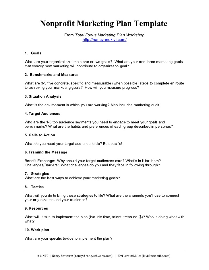 Nonprofit Marketing Plan Template From Total Focus Marketing Plan ...