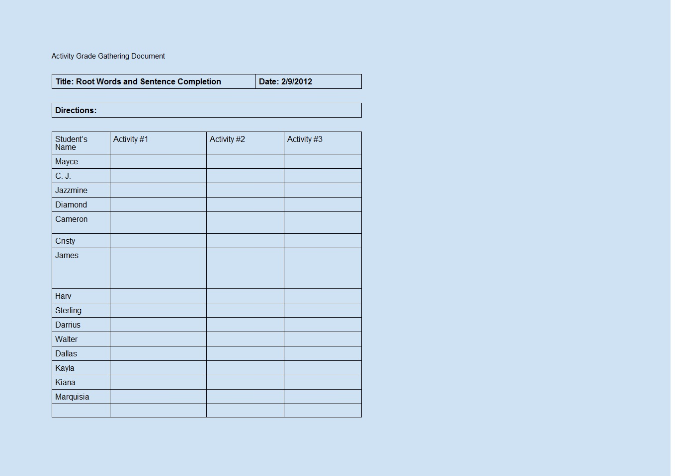 Activity Grade Gathering Word Template ~ Template Sample