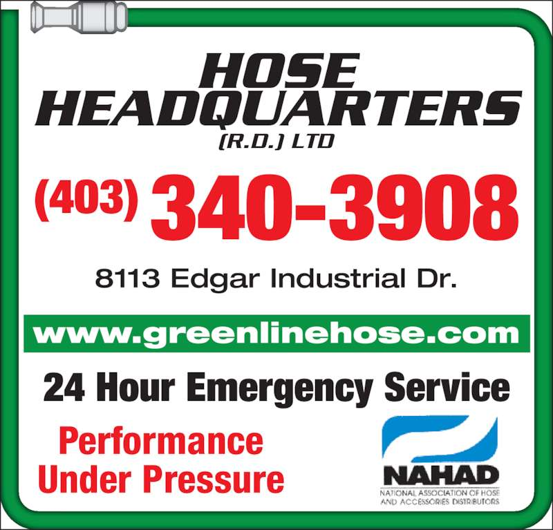 Hose Headquarters RD (403-340-3908) - Display Ad - 24 Hour Emergency ...