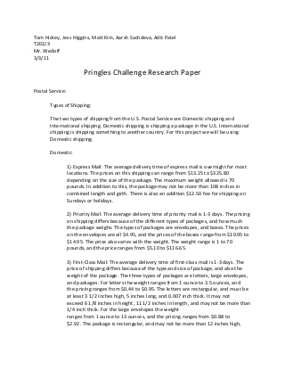 Pringle research paper