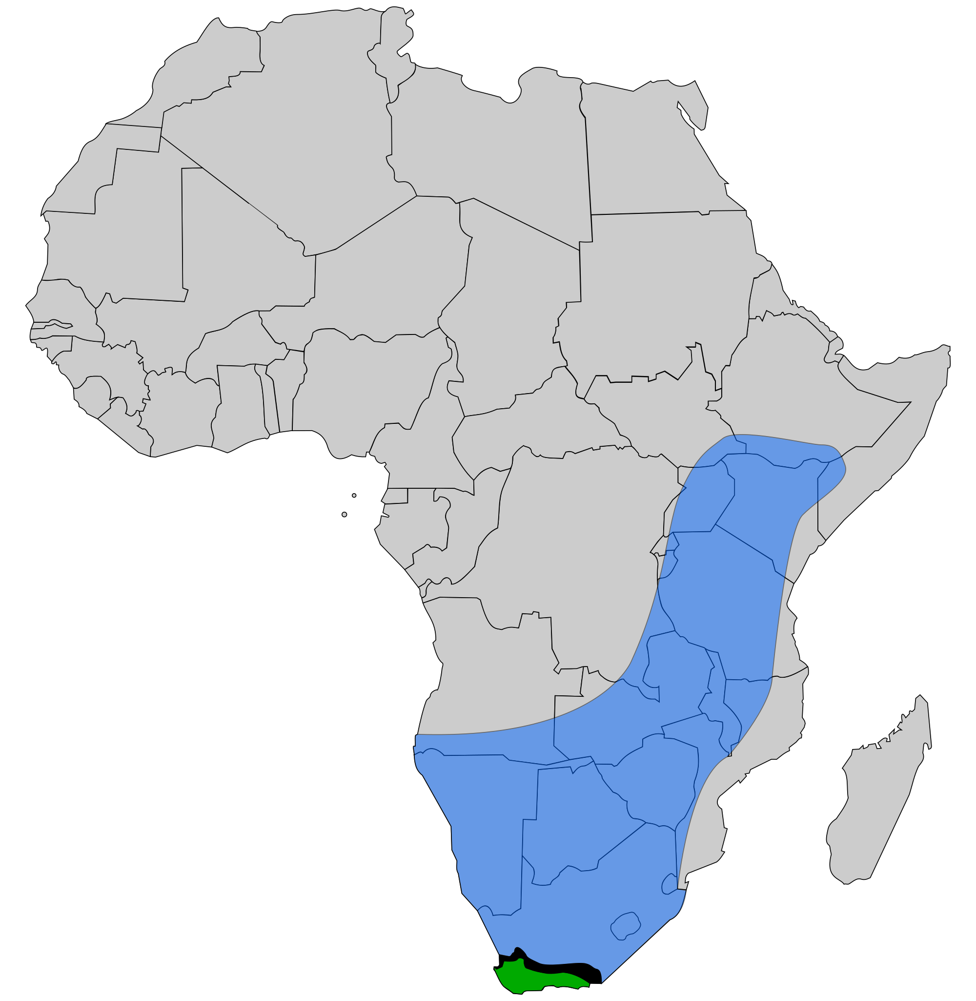 Cape and African Honey Bee range.svg