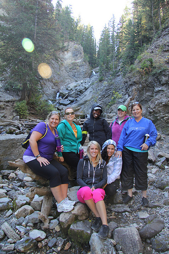 Group photo at the waterfalls. Jolene, Sheri, Leah, Holly, Gail, Landrea, and Nicole.