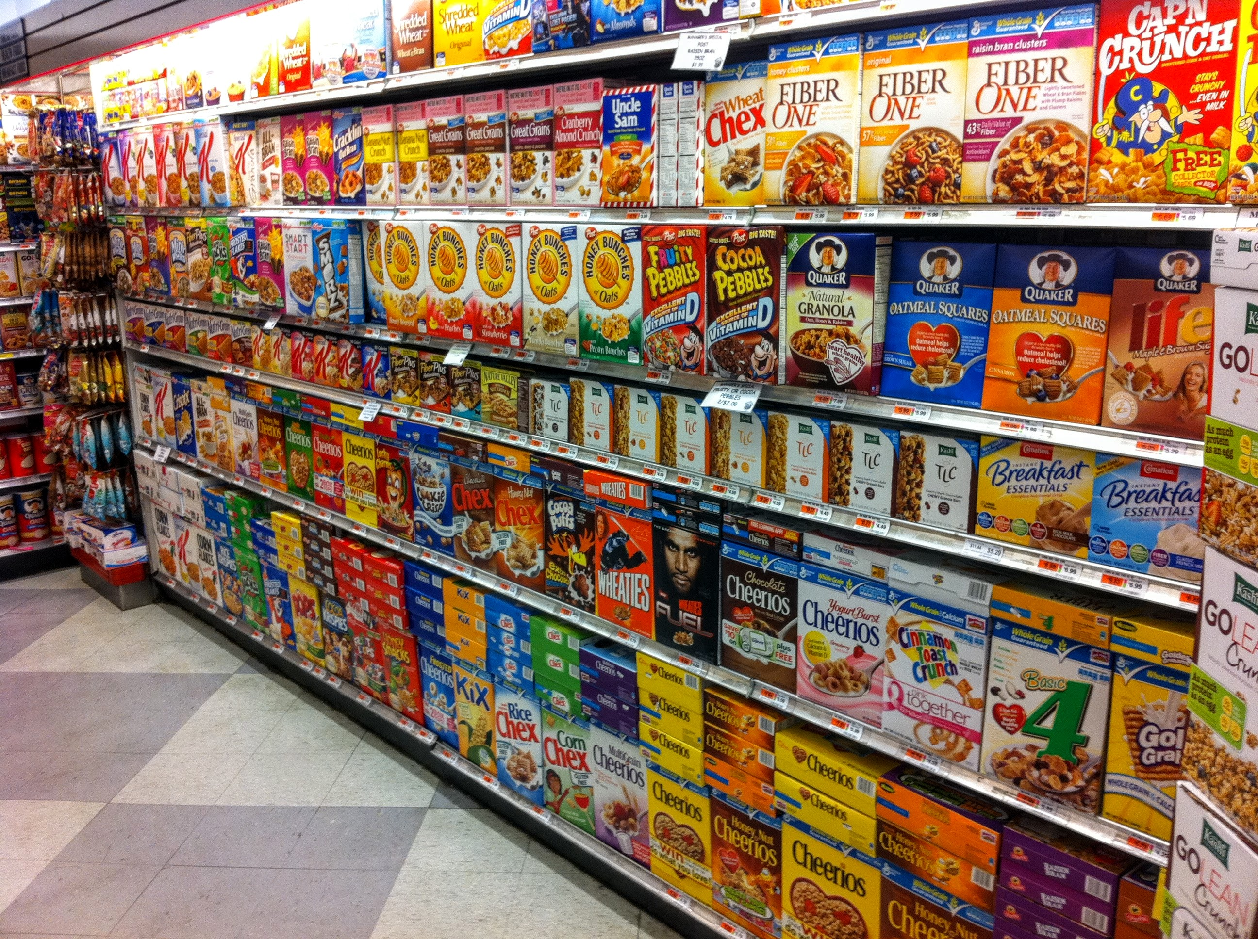 Boxes of cereal in a supermarket