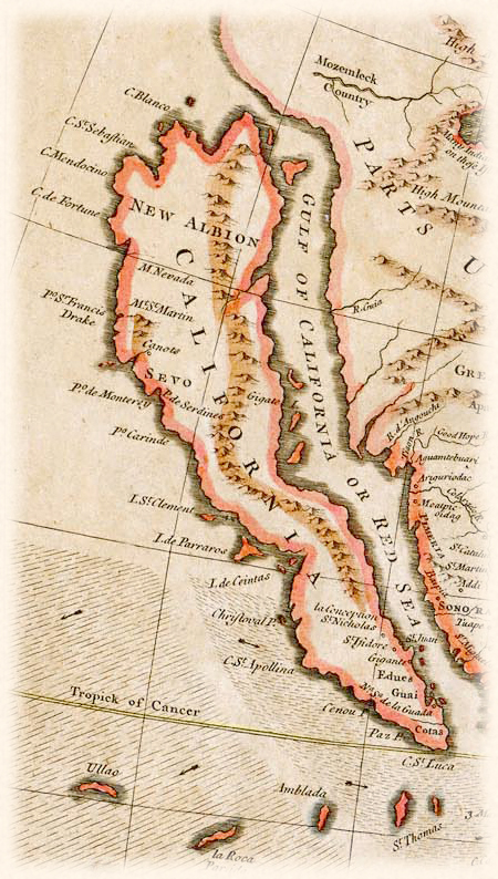 This 1745 map by British cartographer R.W. Seale misrepresented California as an island.