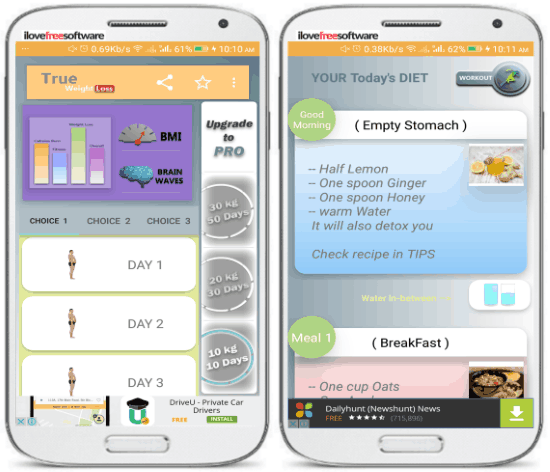 android weight loosing apps- weight loss- course meal plans
