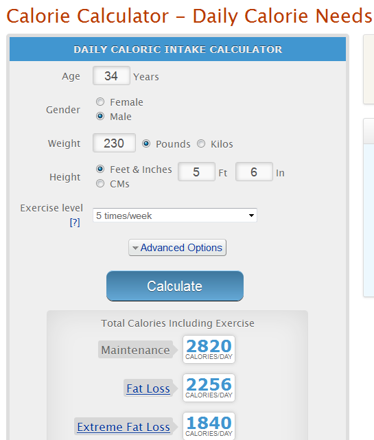 Calorie Calculator With Calories