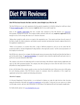 Diet Pill Reviews Reveals the Best and the Latest Weight Loss Pills for All