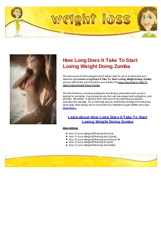 How long does it take to start losing weight doing zumba